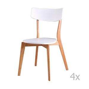 Sada 4 bielych jedálenských stoličiek sømcasa Ava