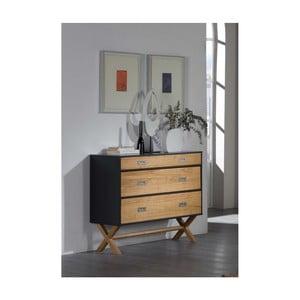 Hnedo-sivá komoda s 3 zásuvkami zborovicového dreva SOB Leydo
