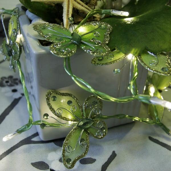 Svetelná reťaz Butterflies 120 cm, zelená