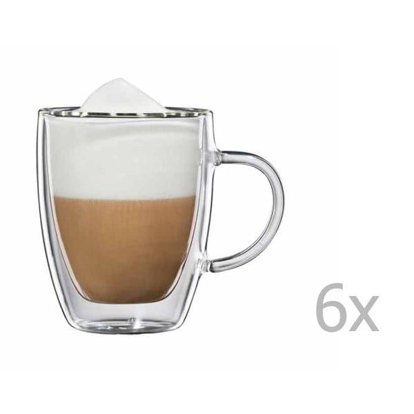 Sada 6 sklenených hrnčekov na cappuccino s uškom bloomix Verona