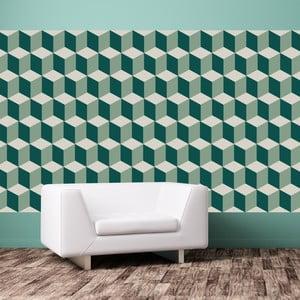 Sada 12 samolepiek na stenu Walplus Green 3D Cubes Wall Mural