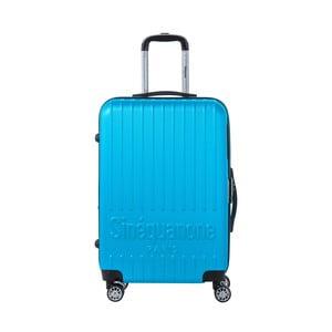 Tyrkysovomodrý cestovný kufor na kolieskách s kódovým zámkom SINEQUANONE Chandler, 71 l