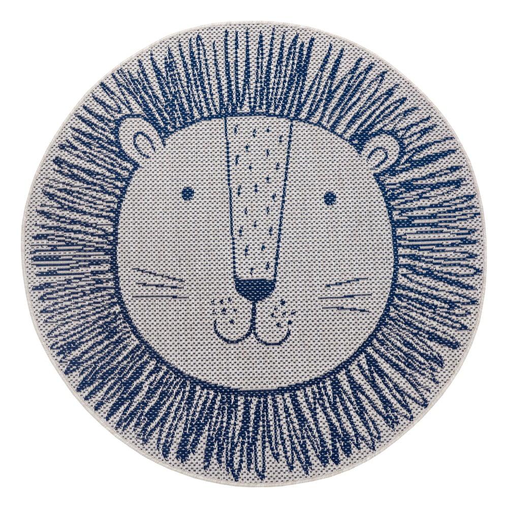 Modrý detský koberec Ragami Lion, ø 160 cm