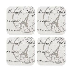 Sada 4 podložiek pod pohár Paris Stamp