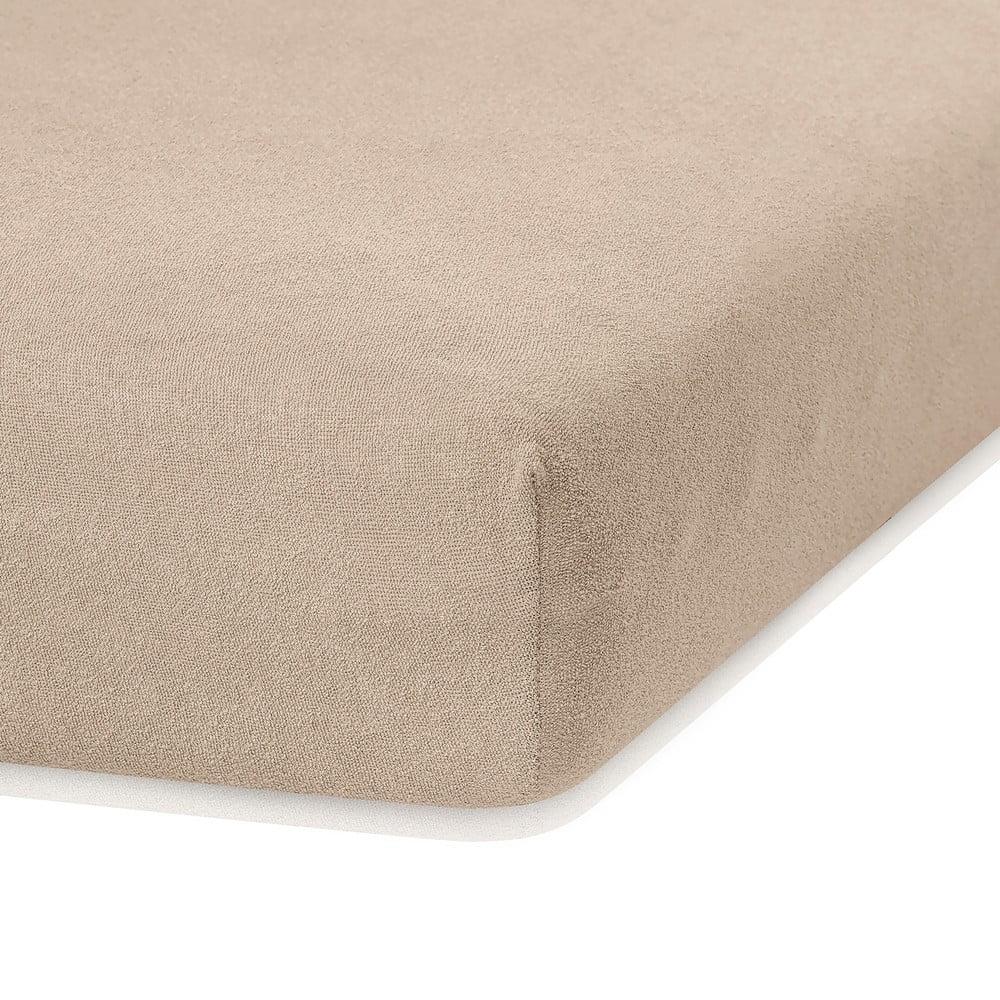 Tmavobéžová elastická plachta s vysokým podielom bavlny AmeliaHome Ruby, 200 x 120-140 cm