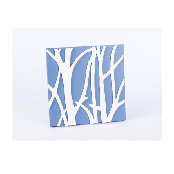 Drevený obraz Branch 30x30 cm, modrý