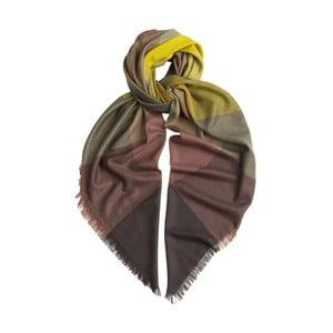 Šatka z kašmíru a hodvábu Hogarth Gradient Citronelle, 120×120 cm