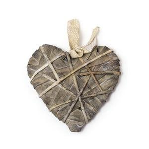 Sivá závesná dekorácia v tvare srdca Ego dekor, dĺžka 30 cm