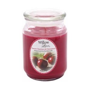Vonná sviečka v skle zo sojového vosku s vôňou čerešne a škorice Candle-Lite, doba horenia až 115 hodín