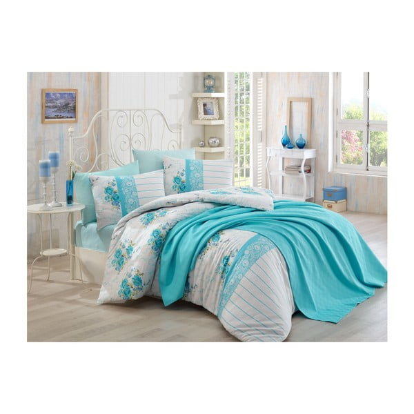Bavlnené obliečky s plachtou na dvojlôžko Waterino, 200 × 220 cm