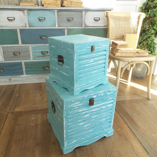Sada 2 úložných boxov Antique Blue