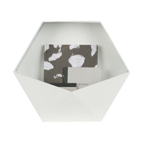 Biela kovová nástenná dekorácia WOOOD, 45 x 39 cm