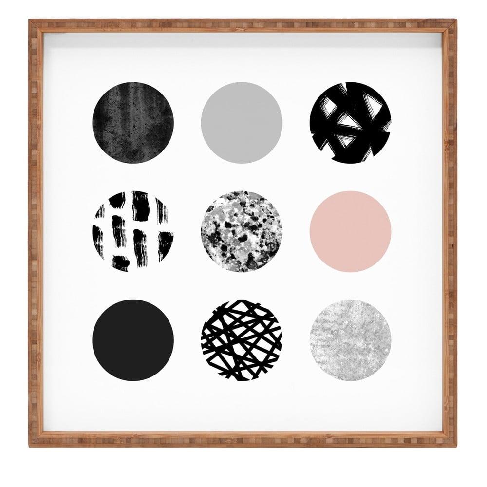 Drevený dekoratívny servírovací podnos Les Cercles, 40 × 40 cm