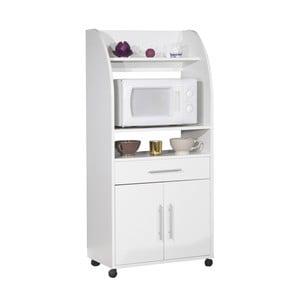 Biely pojazdný kuchynský úložný systém s policami Symbiosis Jeanne