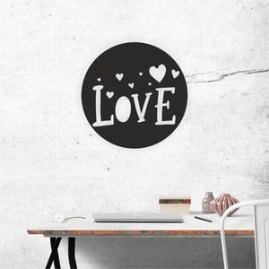 Čierna nástenná samolepiaca dekorácia North Carolina Scandinavian Home Decors Love V3, ⌀ 40 cm