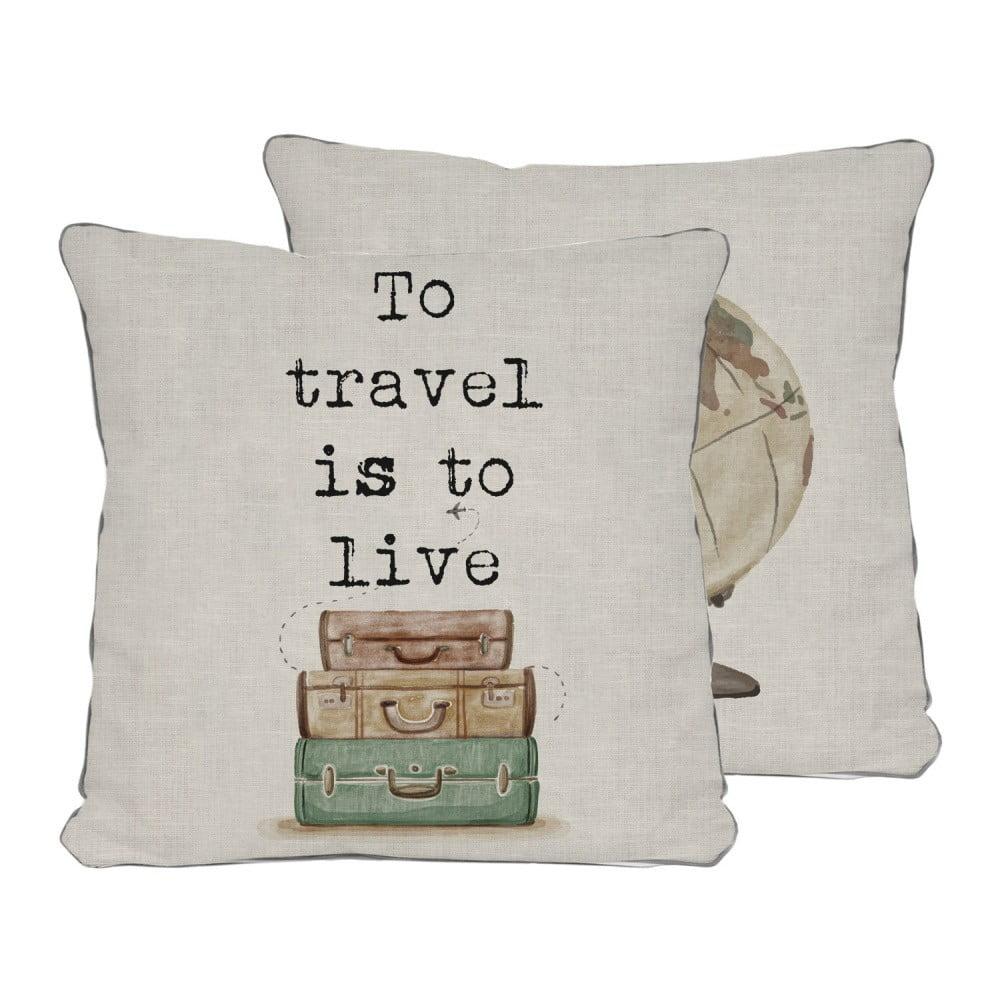 Obojstranná obliečka na vankúš Really Nice Things Travel Life, 45 × 45 cm