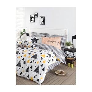 Obliečky s plachtou na dvojlôžko z ranforce bavlny Mijolnir Ilove Black & Yellow, 200 × 220 cm