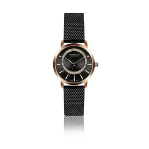 Dámske hodinky s čiernym remienkom z pravej kože Walter Bach Native