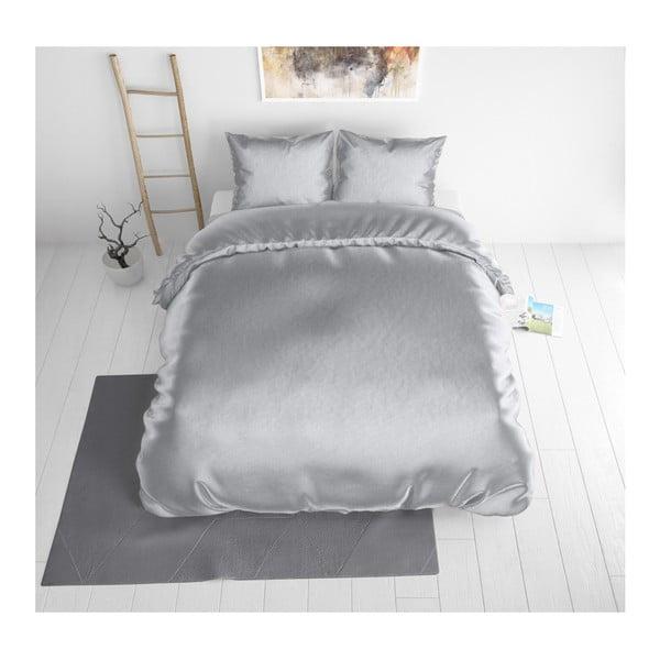 Sivé obliečky zo saténového mikroperkálu na jednolôžko Sleeptime, 140 x 220 cm