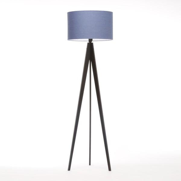 Modrá stojacia lampa 4room Artist, čierna lakovaná breza, 150 cm