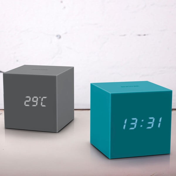LED budík Gravitry Cube, sivý