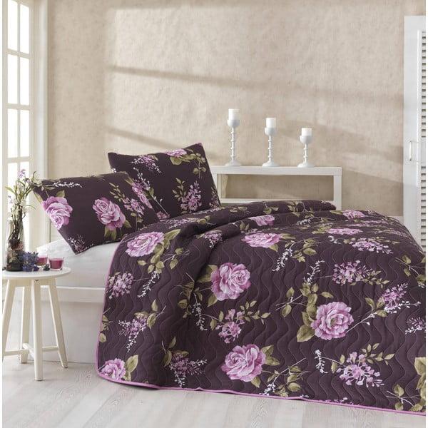 Sada prikrývky cez posteľ a dvoch obliečok na vankúš Serenay Purple, 200x220cm