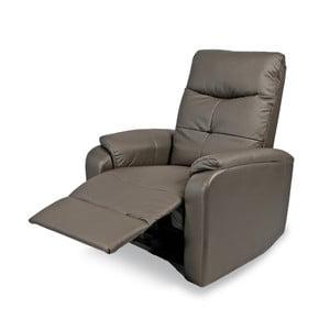 Relaxačné kreslo Etos, sivá koženka