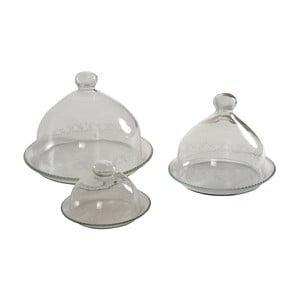 Sada 3 sklenených tanierov s poklopom Antic Line Bell