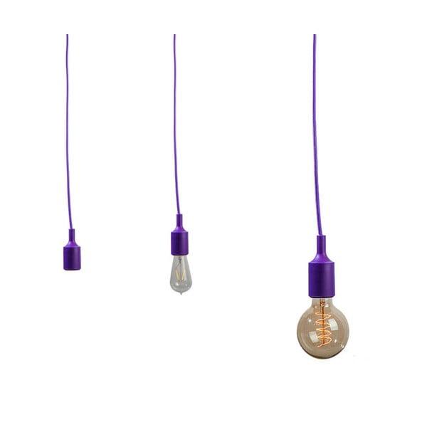 Textilný kábel s objímkou 3 m - fialový