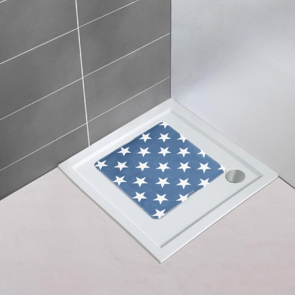 Tmavomodrá protišmyková kúpeľňová podložka Wenko Stella Dark Blue, 54 × 54 cm