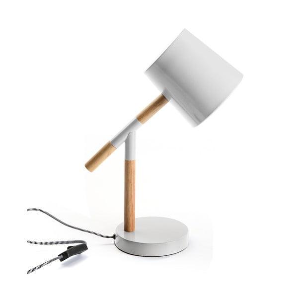 Biela stolová lampa s drevenými detailmi Versa