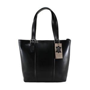 Čierna kožená kabelka Chicca Borse Fiona