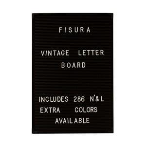 Čierna nástenná tabuľa s bielymi písmenami Fisura Vintage