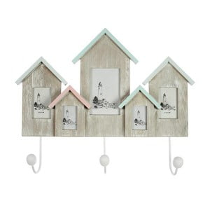 Drevený vešiak s fotorámikmi Houses 46x37 cm