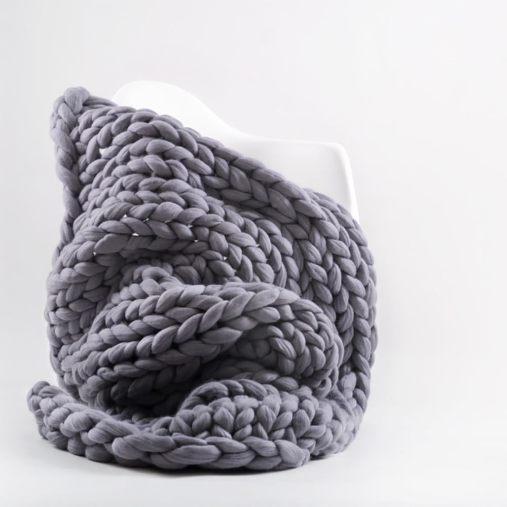 Fialovo-sivá ručne tkaná deka z merino vlny Concepttual Chunky, 125 x 130 cm
