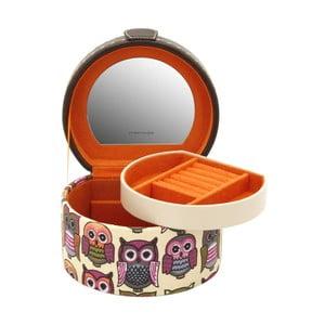 Oranžová okrúhla šperkovnica Owlivia