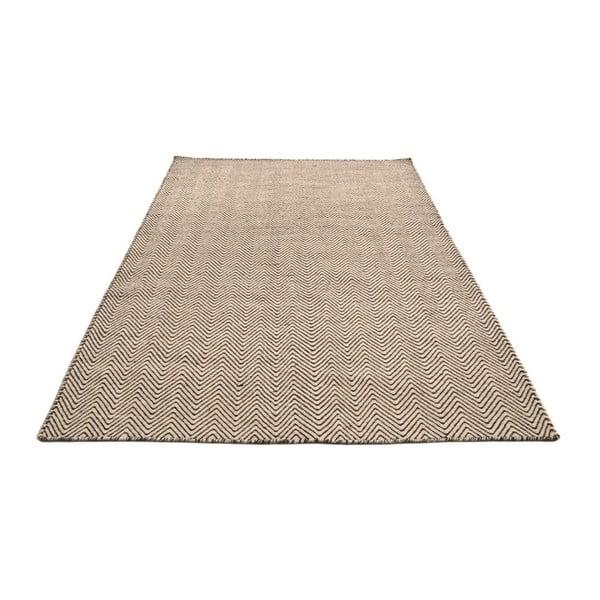 Ručne tkaný koberec Kilim Chevron White/Brown, 98x160 cm