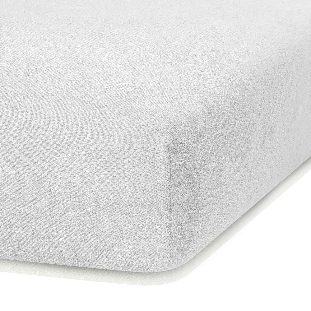 Biela elastická plachta s vysokým podielom bavlny AmeliaHome Ruby, 200 x 140-160 cm
