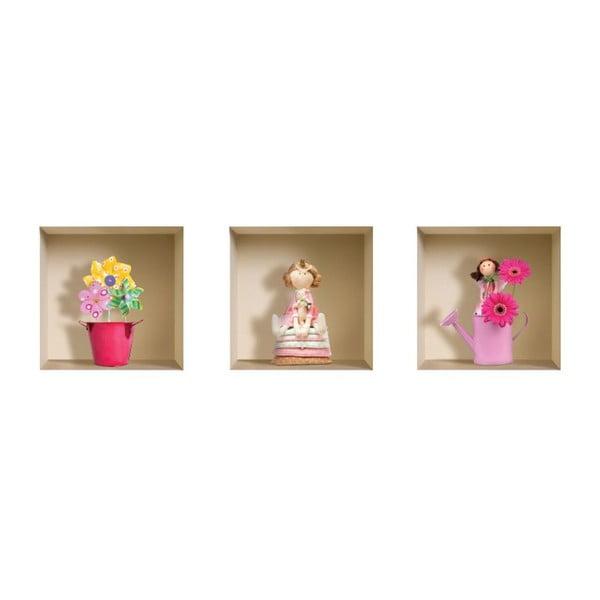 3D samolepky na stenu Nisha Funny Flowers, 3 ks