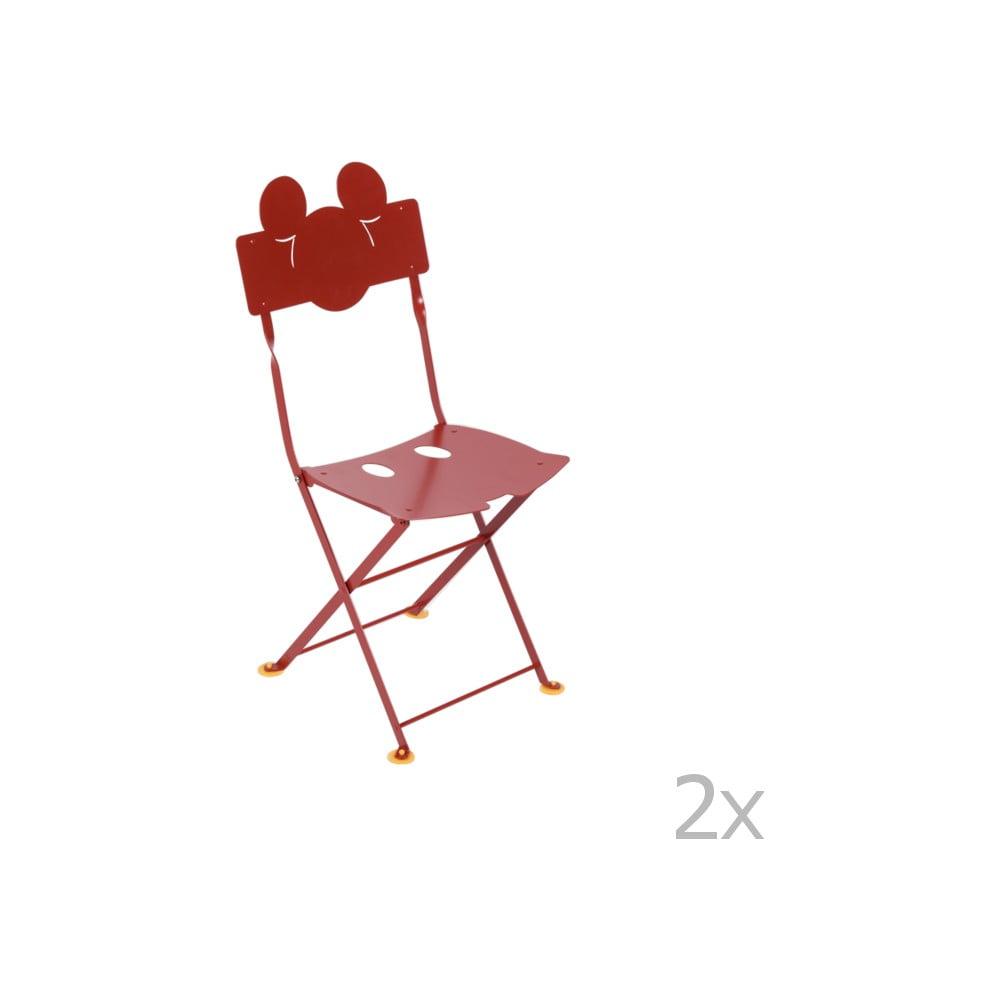 Sada 2 červených detských kovových záhradných stoličiek Fermob Bistro Mickey Junior