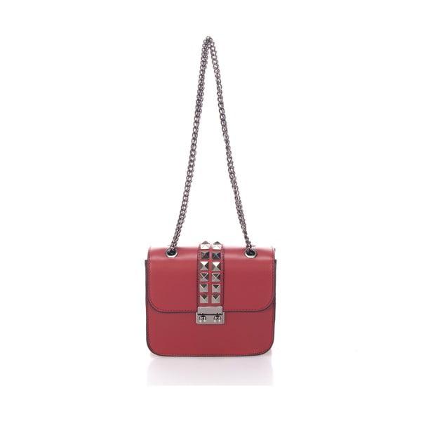 Červená kožená kabelka se stříbrným řetízkem Giulia Massari