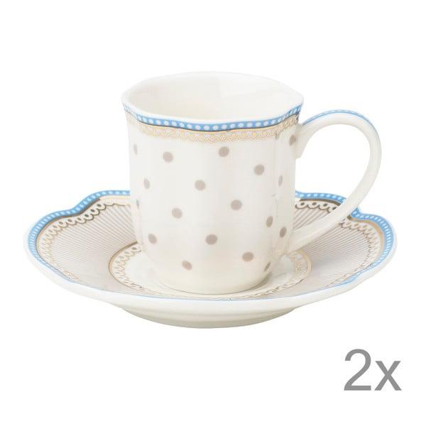 Porcelánová šálka na espresso s tanierikom Beach od Lisbeth Dahl, 2 ks