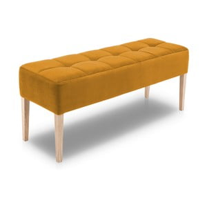 Horčicovožltá lavica s dubovými nohami Jakobsen home Marino, dĺžka 132 cm