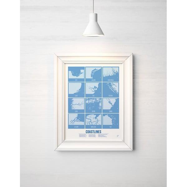Farebný plagát Follygraph Coastlines Blue, 30x40cm