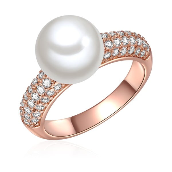 Prsteň vo farbe ružového zlata s bielou perlou Perldesse muschata, veľ. 56