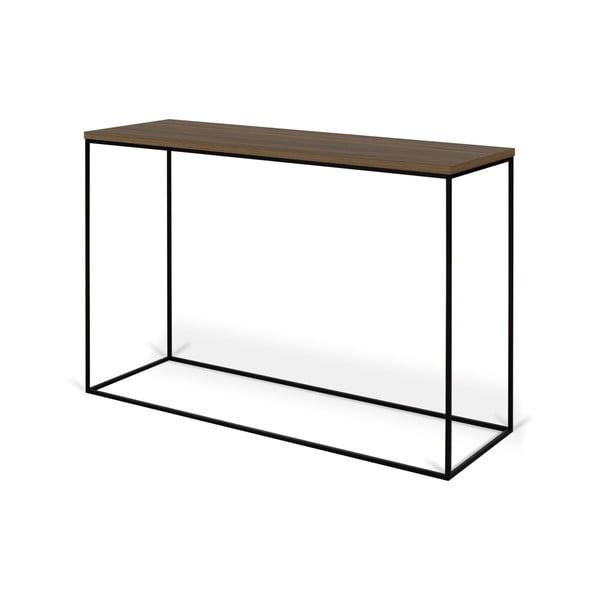 Konzolový stolík s doskou z orecha a čiernymi nohami TemaHome Gleam