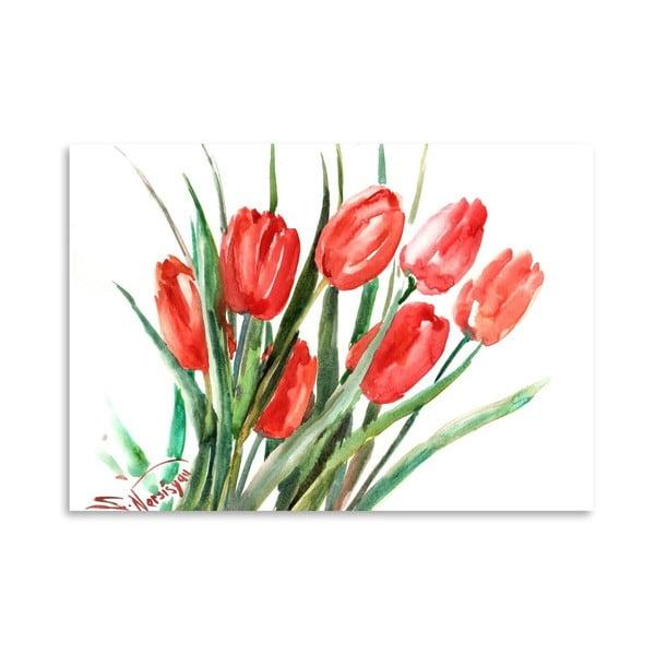 Autorský plagát Red Tulips od Surena Nersisyana, 42 x 30 cm