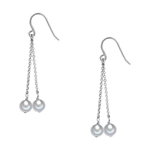Perlové náušnice Lenda, biele perly