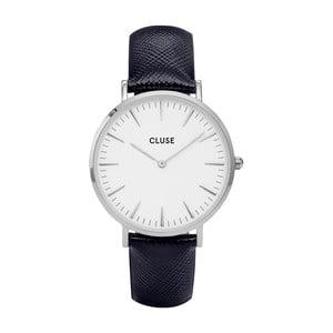 Dámske hodinky s čiernym koženým remienkom a detailmi v striebornej farbe Cluse La Bohéme