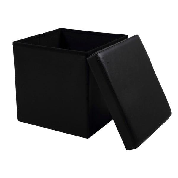 Čierna taburetka s úložným priestorom Actona Sada
